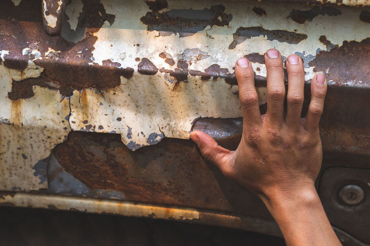 Car rust, hand peeling paint, vintage touch