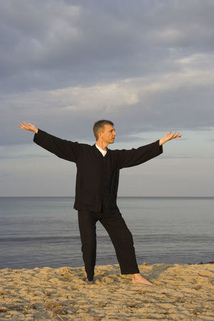 tai chi - posture step back dispatch monkey - art of self-defense Arms Outstretched Arms Raised Beach Chinese Culture Fitness Healthy Lifestyle Man Martial Arts Mature Men Meditation One Man Only One Mature Man Only One Person Outdoors Portrait Qi Gong Sea Sport Sports Clothing Tai Chi Tai Chi Chuan Taiji Taijiquan Water Zen