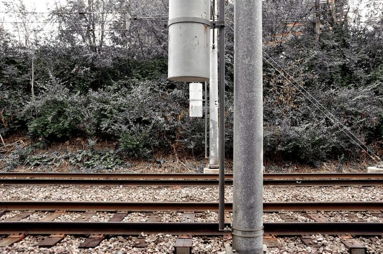 Railroad Railroad Tracks Metal Beams Cylinders Shapes Woods