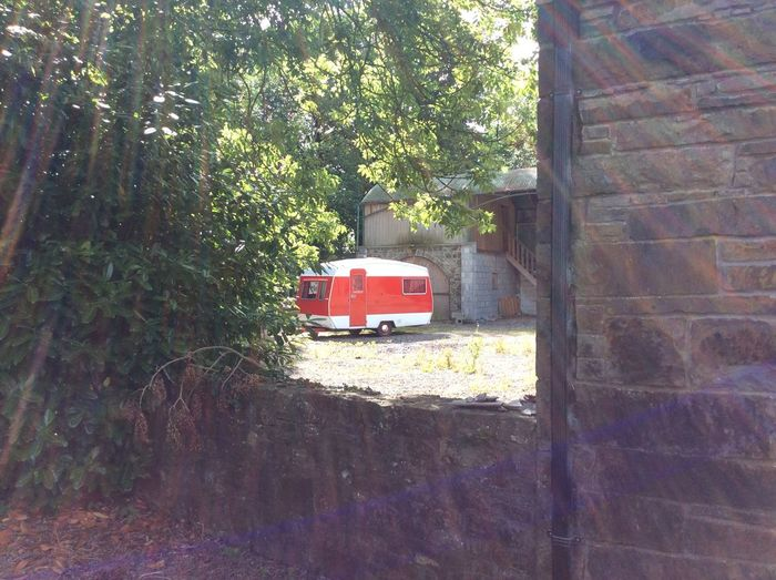 Caravan Red Nofilter#noedit Sunny Natural Light Dramatic Lighting Ireland Photography Summer Vibes Sunlight Through Trees
