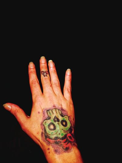My Tattoos My Right Hand Skull On Bones My Hand  EyeEm Selects Human Hand Black Background Palm Fingernail Human Finger Close-up Fingerprint Evidence Body Part Hand Wrist Human Joint Thumb Anatomy Index Finger