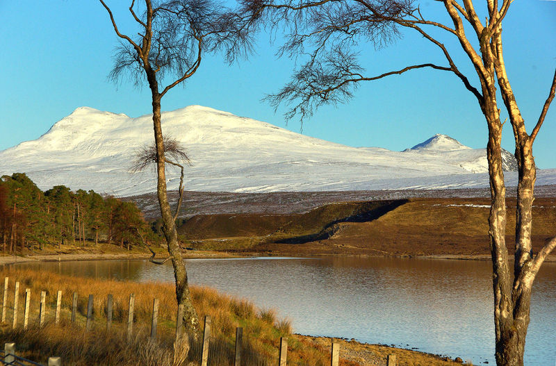 Snow Capped Mountain Achnasheen Bare Tree Beauty In Nature Climbing Day Growth Lake Landscape Loch  Loch A'chroisg Mountain Nature No People Non-urban Scene Outdoors Remote Sand Dune Scenics Sky Snowcapped Mountain Torridon Tranquil Scene Tranquility Tree Water