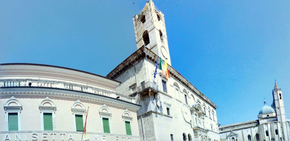 piazza del popolo, Ascoli Piceno Ascoli Piceno City Blue Clear Sky History Sky Architecture Building Exterior Built Structure Palace Past Museum