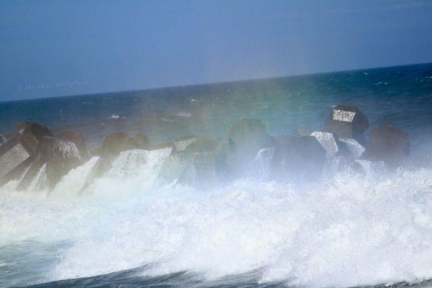 Blue Wave Sea Wave Tetrapod Wave Splash Spindrift Rainbow Colors Japan Neture Seascape Seascape Photography Japan Photography EyeEm Japan