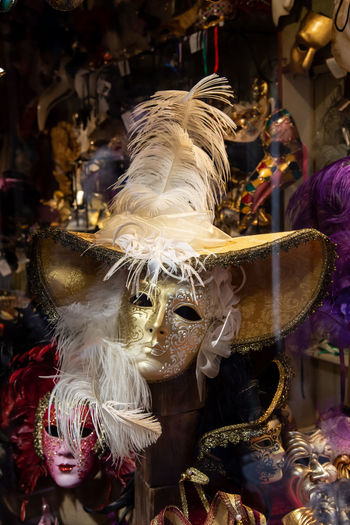 Close-up of mask for sale in store