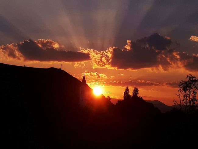 Sunset Silhouette Heat - Temperature Mountain Outdoors Sky Night Nature Landscape No People Beauty In Nature