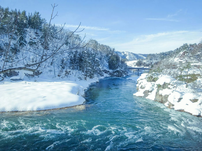 Cold river with snow among the valley. Scenic Polar  Climate Snow Snowcapped Mountain Valley Landscape River Temperature Season  Nature Valley Cold Water Mountain Snow Tree Winter Blue Pine Tree Pinaceae Glacier Iceberg Ice Arctic Frozen Geology Glacial