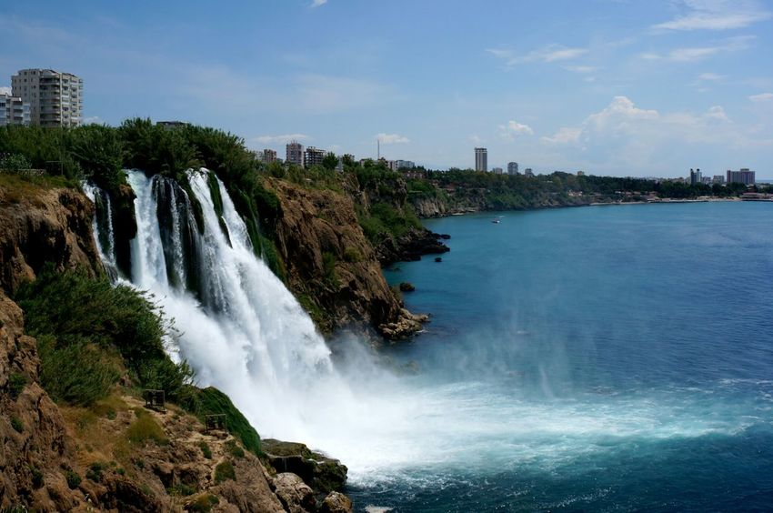 Waterfall Sea Seascape Antalya Turkey Travel