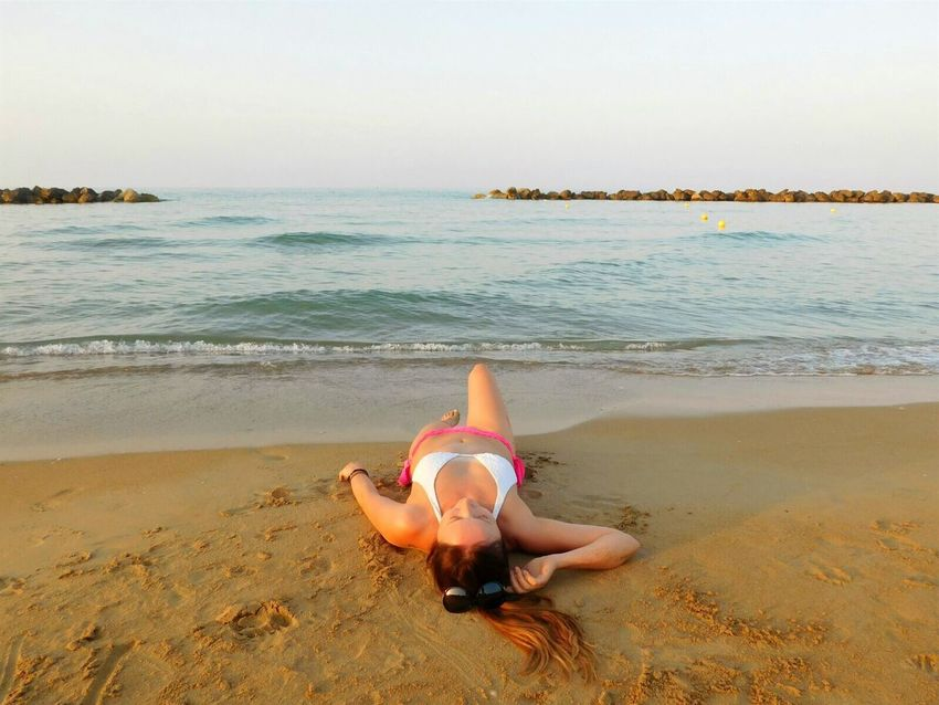 Beach Sea Sand One Person Vacations Summer Bikini Only Women One Woman Only People Full Length Day Outdoors Beauty Fun Portrait Leisure Activity Horizon Over Water Francavillaalmare Abruzzo - Italy