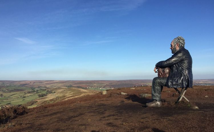 The Seated Man Man Looking Contemplating Rambling Sightseeing Hill Walking View Sitting Viewpoint Hilltop Sculpture North Yorkshire Moors North Yorkshire Yorkshire Sitting Man The Seated Man Landscape Sitting Nature Blue Outdoors Sky