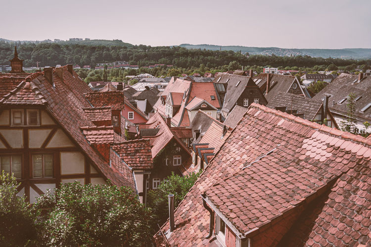 Roof Architecture Built Structure Building Residential District Building Exterior House Roof Tile Nature Sky Tree Plant Day No People Town Clear Sky Outdoors High Angle View Old City TOWNSCAPE Dächerblick Altstadt Marburg An Der Lahn Altstadt Retro Styled