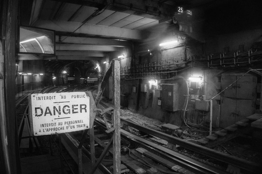 Danger!!! Photooftheday Travelblogger Travel Destinations Metro Station Metrostation Sony A6000 A6000 A6000photography Architecture Blackandwhite Photography Danger Metro Illuminated Text Communication Night Indoors  No People Architecture Close-up