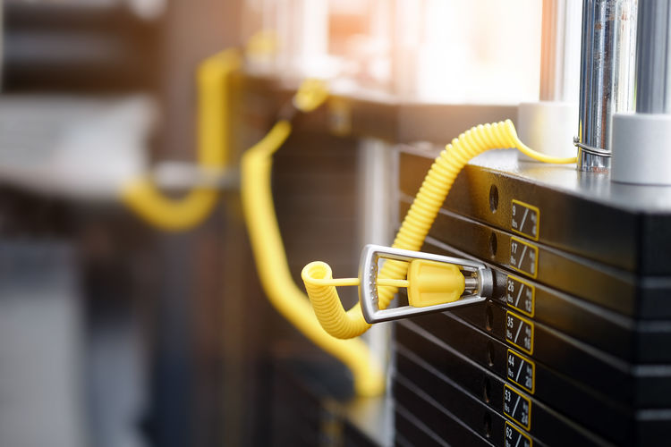 Close-up of exercise machine in gym