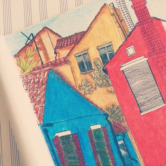 The Process ✏ Drawing Sketch Sketchbook Colored Pencils Street City Italy Venice Colorful Houses Windows Liner рисунок скетч набросок скетчбук Италия венеция карандаши улица здания дома окна радуга ярко линер 그림