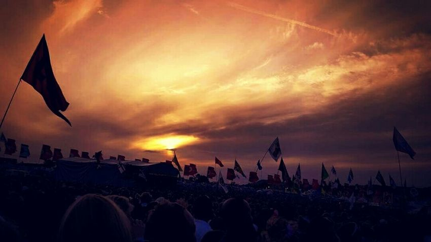 Glastonbury Glastonbury Festival Glastonbury 2015 Crowds Flags Sunset Gigs Music Dancing Hanging Out Taking Photos Hello World Enjoying Life Somerset England Mobile Shots Mobile Photography Popular Photos No Edits No Filters Eye4photography  EyeEm Best Shots Party