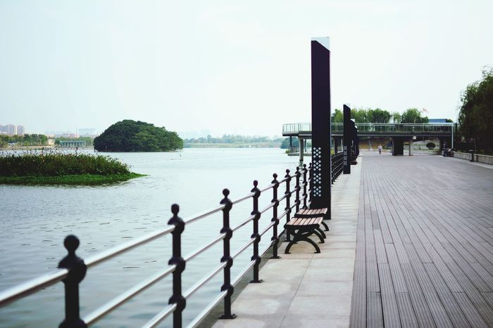 Water Railing Clear Sky Long Calm Panoramic In A Row Boardwalk Day Tranquility Cloud The Way Forward Group Of Objects Sky Narrow Jetty Outdoors Nature