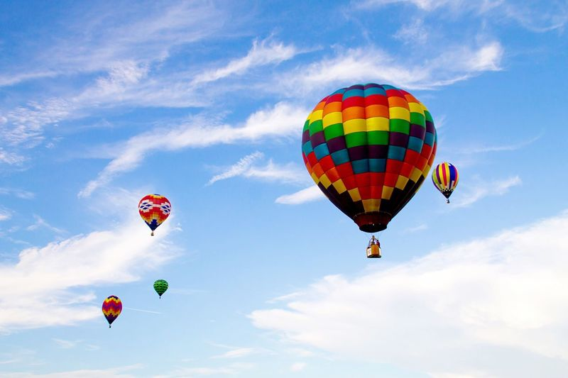 Low Angle View Of Hot Air Balloons In Sky