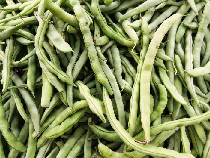 Full frame shot of green beans for sale in market
