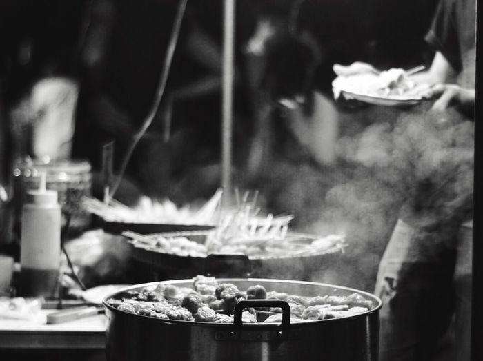 Close-up of preparing food in restaurant