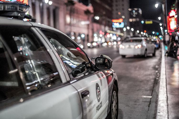 Architecture Car City Hollywood Hollywood Blvd Illuminated Land Vehicle Night No People Outdoors Police Street Transportation