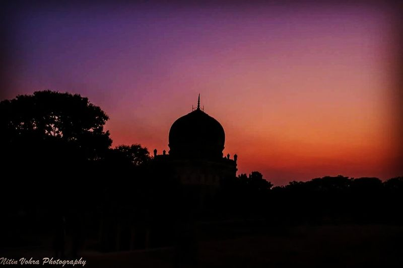 Qutub Shahi Tombs Hyderabaddiaries Hyderabad,India Hyderabad Silhouette Sunset Silhouette Travel Destinations Religion Business Finance And Industry Night Architecture Dawn Landscape No People Outdoors Ancient Civilization