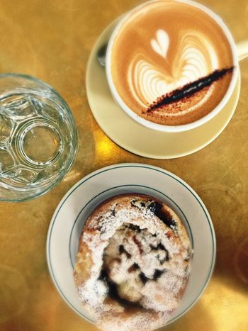 Coffee, brioche, glass of water Food And Drink Table Drink Coffee - Drink Coffee Cup Food Refreshment Freshness Ready-to-eat Cappuccino High Angle View Froth Art Indoors  Serving Size No People Latte Close-up Day Cappuccino ♥ Brioche Pastry Singapore Breakfast Breakfast Time Food And Drink