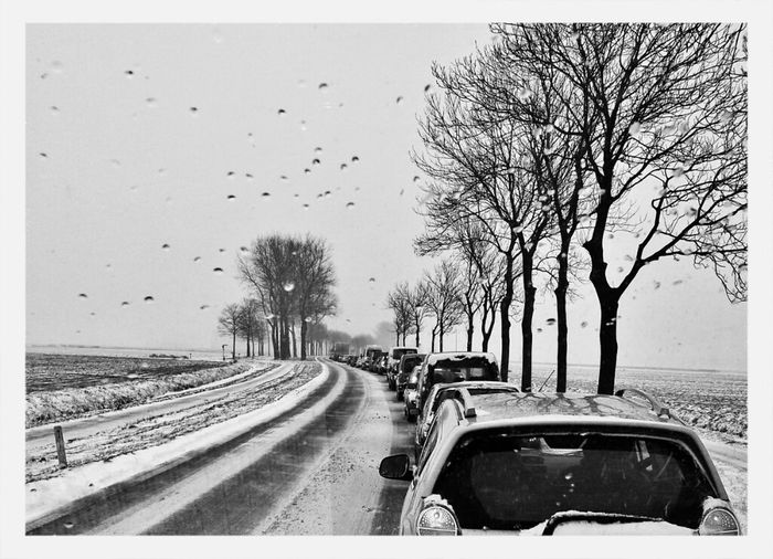 Blackandwhite Groningen Winter Traffic Stuck In Traffic Adorp