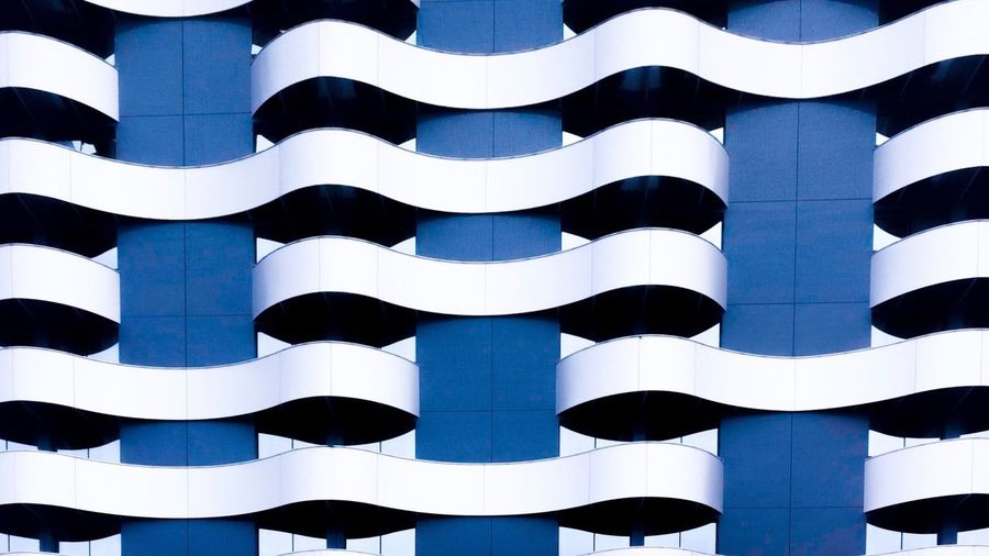 Waves Full Frame Backgrounds Pattern No People Blue Architecture Built Structure Day Low Angle View Repetition Close-up Striped In A Row Creativity Sunlight Art And Craft Design Outdoors Shape