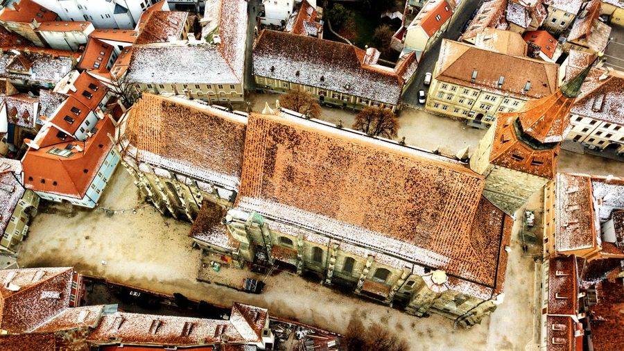 High angle view of old buildings in brasov