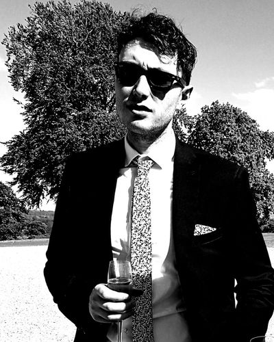 Businessman Only Men One Man Only Mid Adult Men Adult Mid Adult Business Person Business Suit Men Adults Only People Retro Styled One Person Portrait Well-dressed Day Wedding Black And White Sharp Dressed Man Rayban Sunglasses Prosecco Serious Vintage