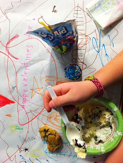Valentine's Day  Valentines Party Valentine School Party Children Only Human Hand People Childhood Child Children Childhood Memories Children's Art Hand Drawn Party Food Ice Cream Cupcake Food Cookies Kool Aid  Eating Fun Art Work Child's Art Kids Art Classroom Moments