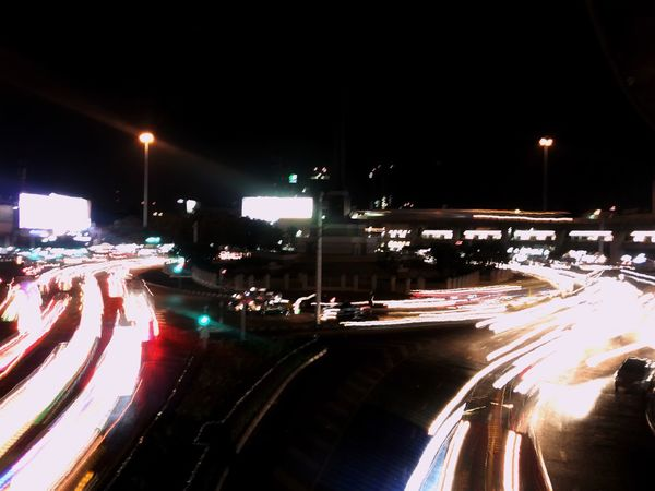 Bangkok night light Illuminated Night Transportation Motion Light Trail Street Light Traffic Road Rush Hour No People
