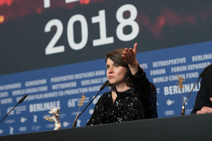 Berlin, Germany - February 24, 2018: Polish film director, screenwriter and producer Malgorzata Szumowska receives the Silver Bear Grand Jury Prize for 'Mug' at the 68th Berlinale Festival 2018 AWARD Artist Berlin Event Film Festival Press The Media Winning Arts Culture And Entertainment Berlinale Berlinale 2018 Berlinale2018 Berlinale68 Entertainment Entertainment Event Film Industry Jury Prize Malgorzata Szumowska Mass Media One Person People Press Conference Prize Silver Bear