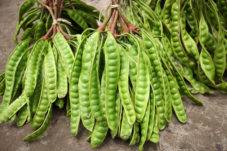 High Angle View Of Green Beans For Sale At Market