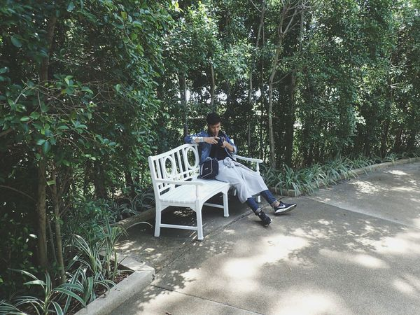 View Tree Full Length Sitting Casual Clothing Forest Bench Relaxation Lifestyles Men Park - Man Made Space Day Growth Person Green Color Tranquility WoodLand Nature Lush Foliage Solitude Outdoors