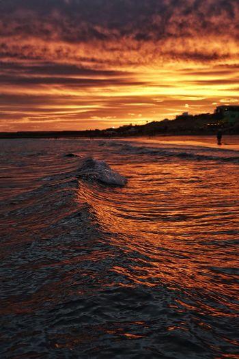 sunset Water Sea Wave Sunset Beach UnderSea Low Tide Swimming Red Orange Color Seascape Romantic Sky Dramatic Sky Atmospheric Mood Moody Sky
