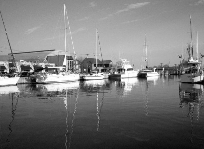 Maryland Annapolis Ego Alley Sailboat Black And White Water River Creek Spa Creek