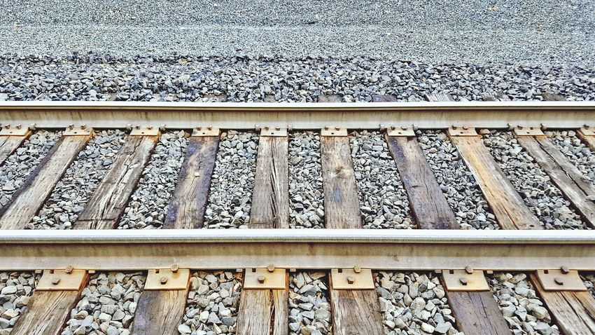 Railroad Track Rail Transportation Railroad Tie Day Outdoors Metal No People Transportation Pattern Parallel Close-up