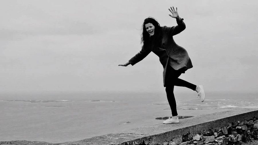 Full Length One Person Only Women Adults Only Adult One Woman Only People One Young Woman Only Young Adult Outdoors Motion Sea Day Women Water Portrait Real People Nature Flexibility Ireland EyeEm Gallery EyeEm Best Shots EyeEm Best Shots - Black + White EyeEmBestPics