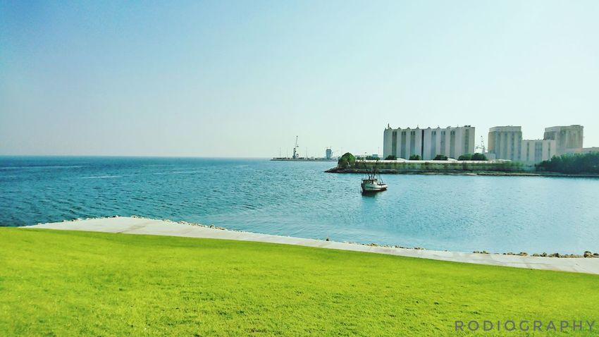 Sea Water Blue Clear Sky Outdoors Beauty In Nature Scenics Day Nature Green Color Horizon Over Water Nautical Vessel Canon1200d Eyeem Philippines EyeEm Doha,Qatar Sky Tranquil Scene Tranquility