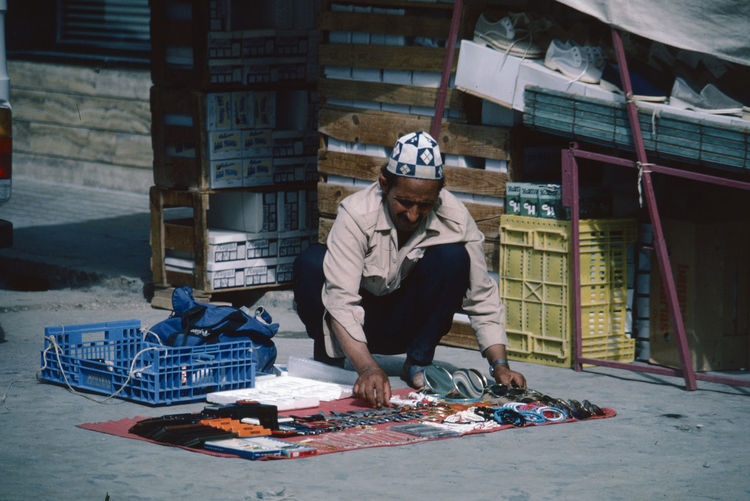 Setting out his wares! At The Market Moroccan Artisanal Day Front View Full Length Occupation One Person Outdoors Photograpghy  People Real People Young Adult