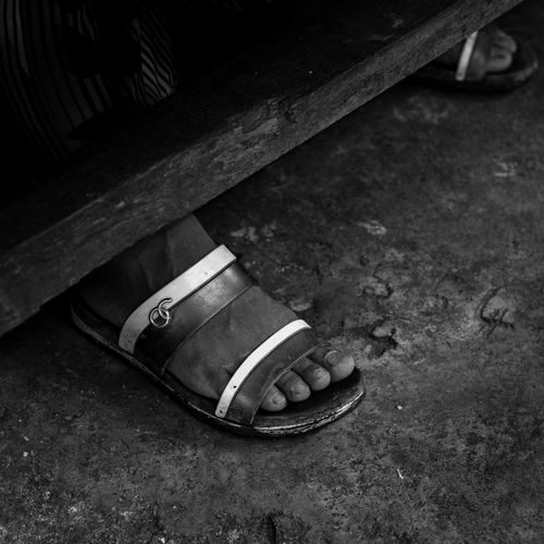 feet Absence Architecture Body Part Canvas Shoe Close-up Day High Angle View Lifestyles Low Section No People Outdoors Pair Personal Accessory Sandal Shoe Shoelace Still Life