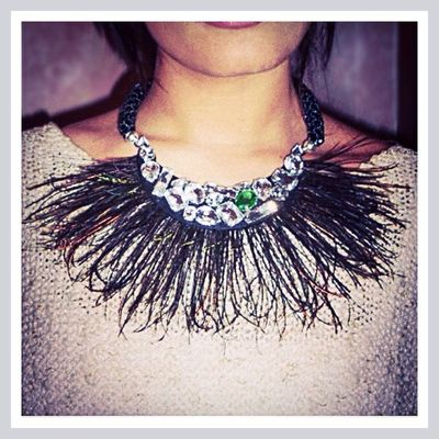 Sara Germani Design - Peacock Feathers Necklace - Handmade Made in Italy