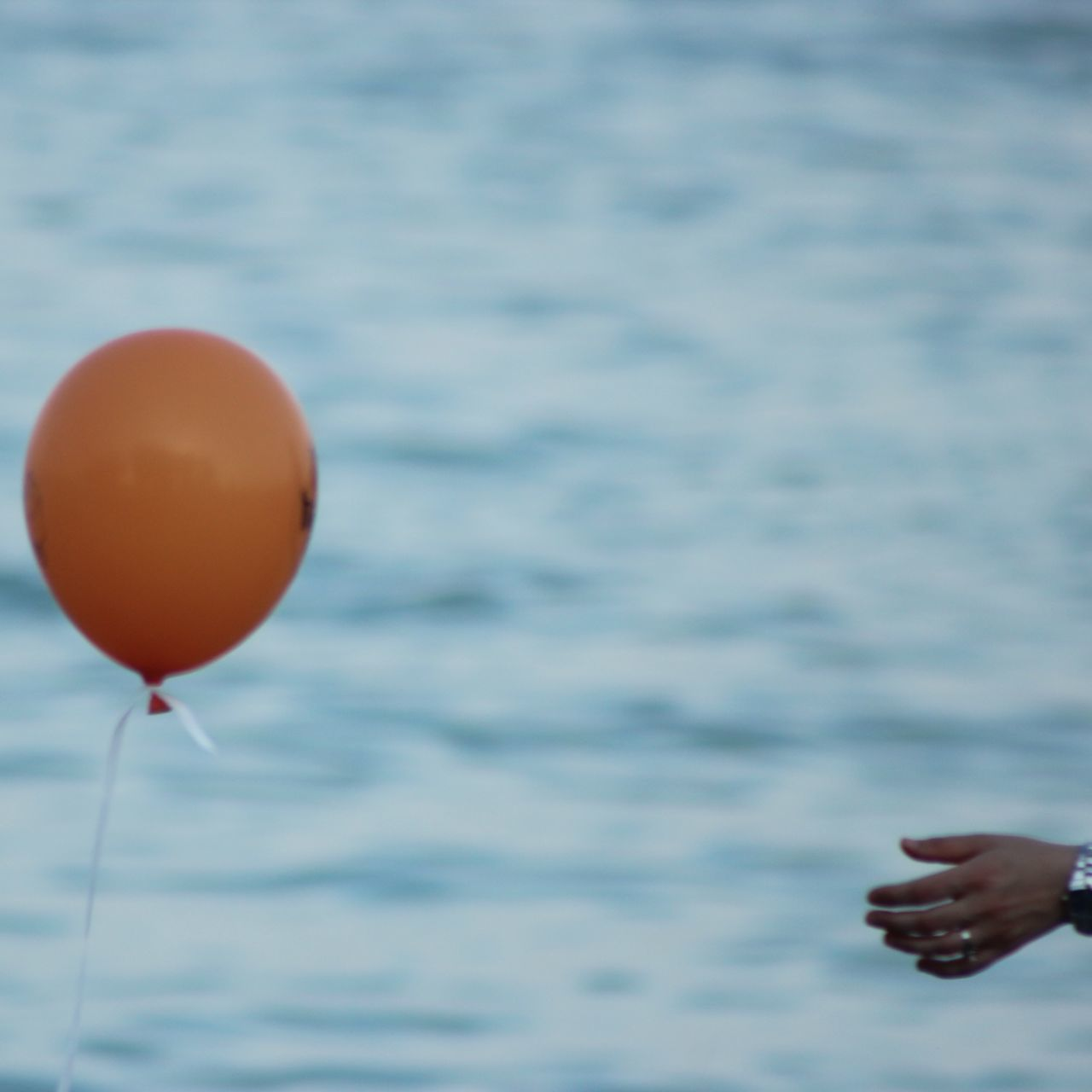 water, outdoors, nature, sea, human hand, day, human body part, balloon, real people, one person, close-up