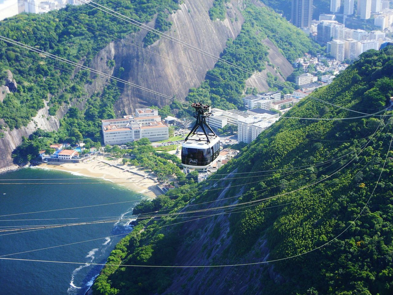 High Angle View Of Sugarloaf Cable Car Above Beach