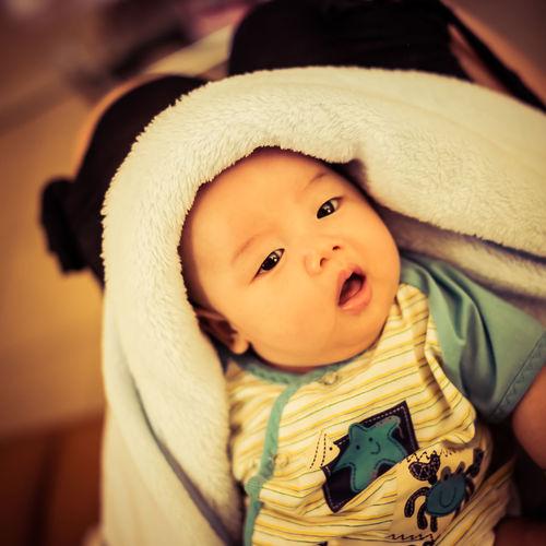 Portrait Of Cute Baby Boy In Soft Blanket