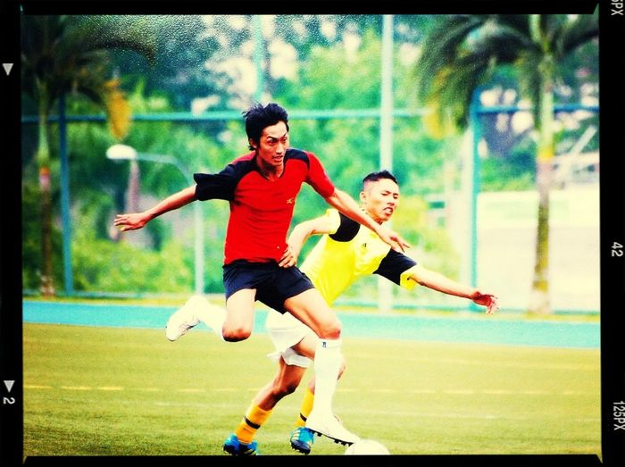 A snapshot of my team mate and friend during a soccer tournament
