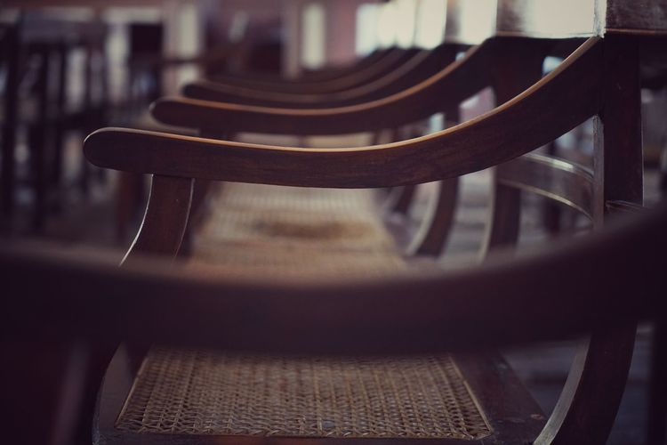 Seat No People Chair Indoors  Wood - Material Empty In A Row Close-up Selective Focus Absence Table Focus On Foreground Day Furniture Group Of Objects Still Life Metal Antique Bench