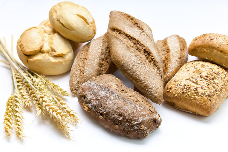 High angle view of wheat on white background