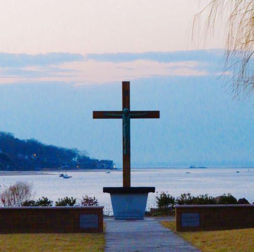 Cross Religion Sky Tranquil Scene Spirituality Scenics Sea